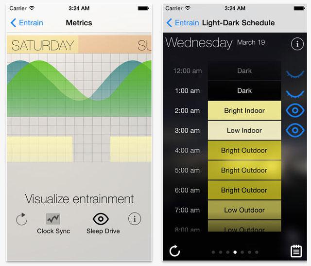 Screenshot of 'Entrain', an app for avoiding jet lag
