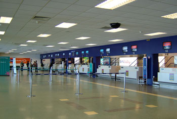 Check-in desks at Cardiff airport. Used under creative commons license from holidayextras